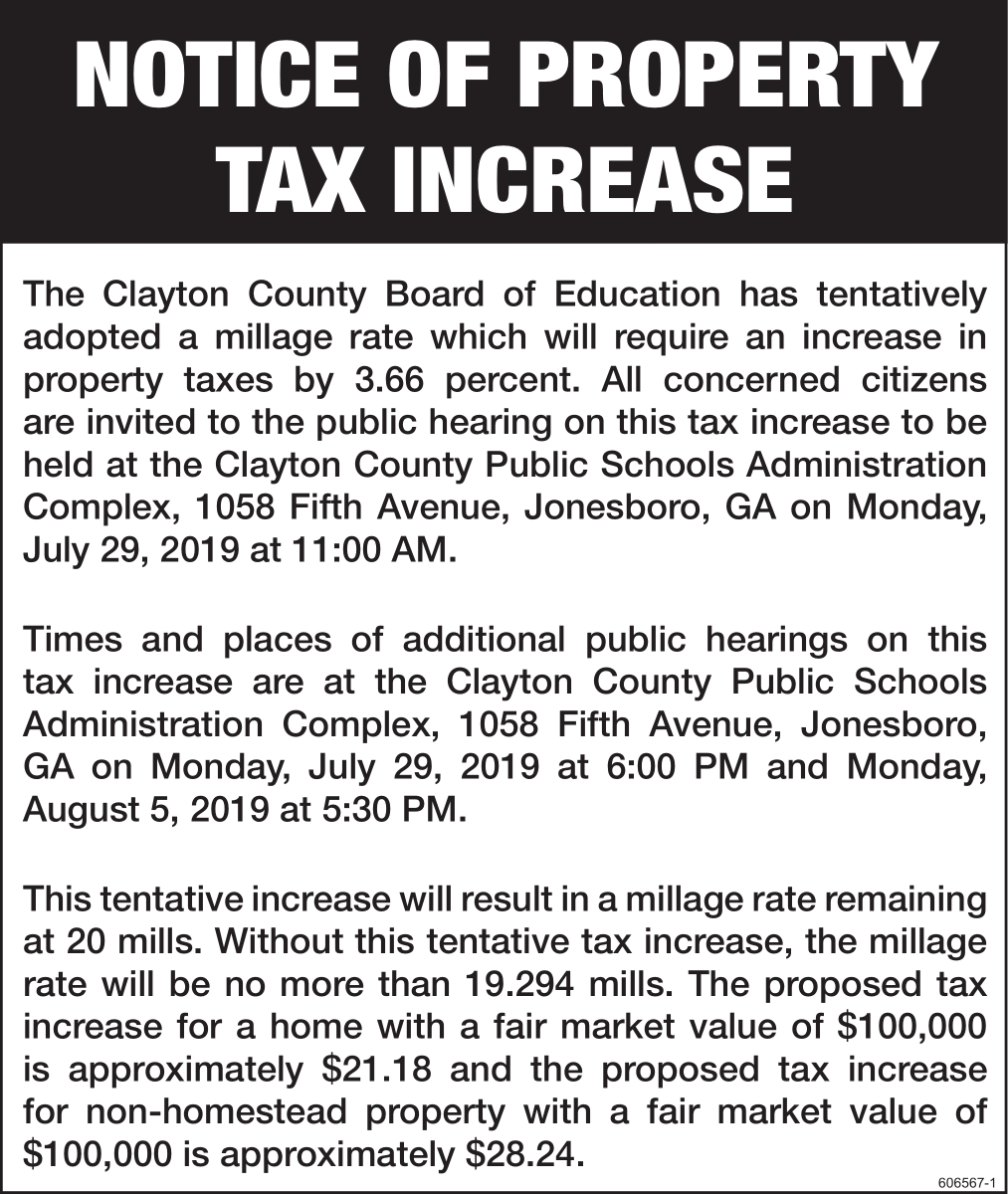 Notice of Property Tax Increase